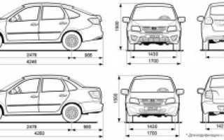Размеры кузова Лада Гранта (седан и лифтбек)