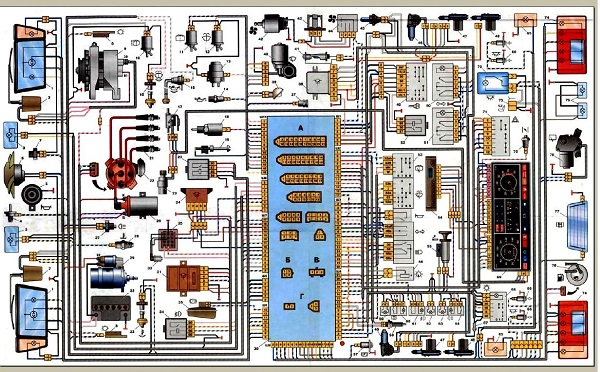 Полная схема проводки на Lada 2107