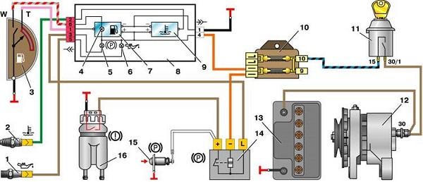 Схема контрольных ламп приборов