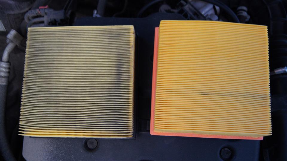 Замена воздушного фильтра на Лада Приора, новый и старый воздушный фильтр